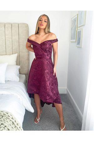 Chi Chi London Bardot high low midi dress in berry