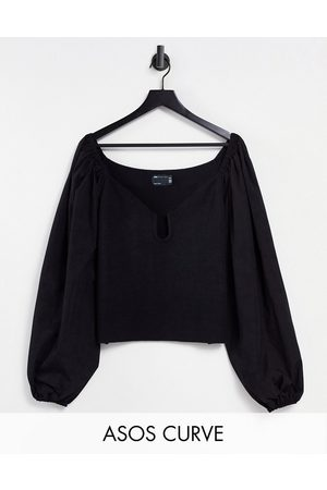 ASOS Curve jumper with plunge neck and woven sleeves in black