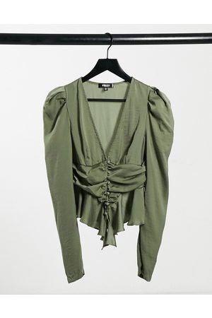 Missguided Cinched waist blouse with buttons in khaki satin