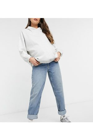 ASOS ASOS DESIGN Maternity high rise 'slouchy' mom jeans in authentic midwash with elasticated side waistband