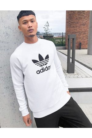 adidas Large trefoil sweatshirt in white