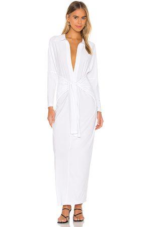 Norma Kamali Maxivestido tie front en color talla L en - White. Talla L (también en XXS, XS, S, M, XL).