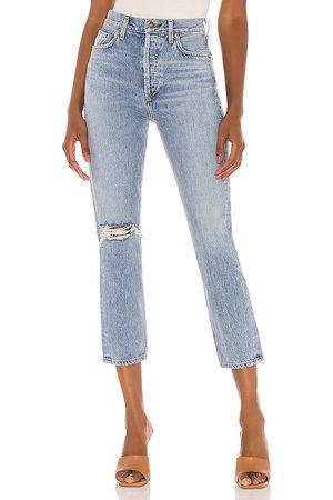 AGOLDE Pantalones rectos de talle alto riley en color azul talla 24 en - Blue. Talla 24 (también en 25, 26, 27, 28, 29, 30, 31).