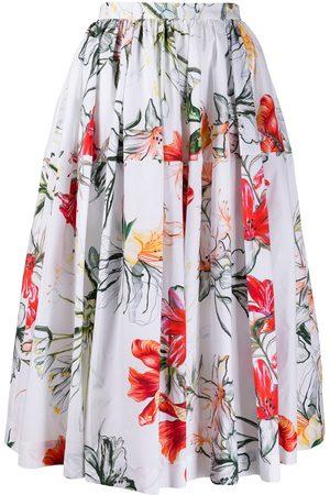 Alexander McQueen Falda midi con estampado floral