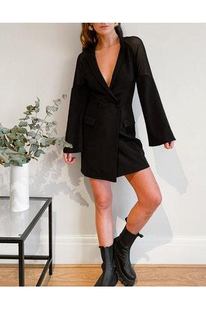 ASOS Mesh sleeve off shoulder tux oversized mini dress in black