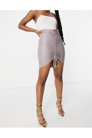 Club L Ruched mini skirt in mauve