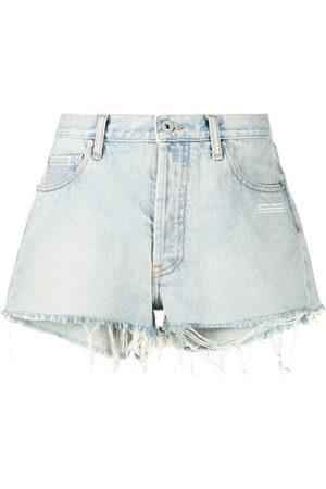 OFF-WHITE Mujer De mezclilla - Shorts de mezclilla con efecto descolorido