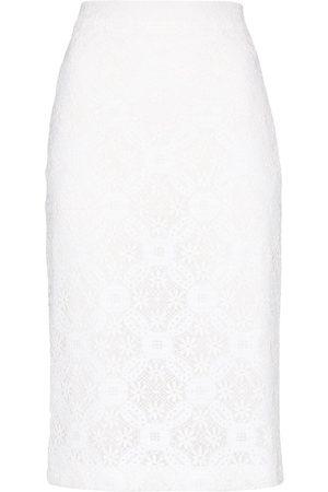 Alexander McQueen Falda tubo de tiro alto con encaje