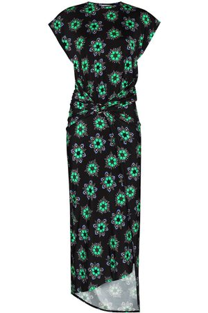 Paco rabanne Gathered floral print midi dress