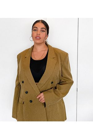COLLUSION Plus exclusive double breasted blazer in tan pinstripe