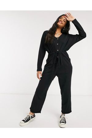 ASOS Lounge jersey button front long sleeve tie waist jumpsuit in black