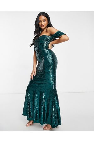 Club L Club L bardot sequin maxi dress with fishtail in emerald green
