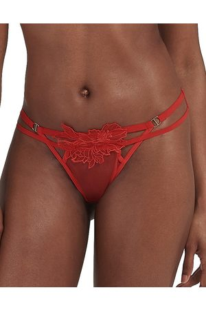 BlueBella Tempest thong with floral mesh overlay in red