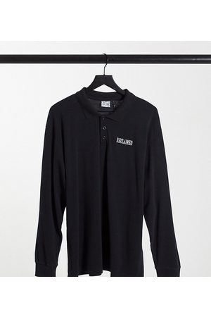 Reclaimed Vintage Inspired long sleeve rugby top in washed black