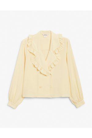 Monki Marian long sleeve frill collar blouse in yellow