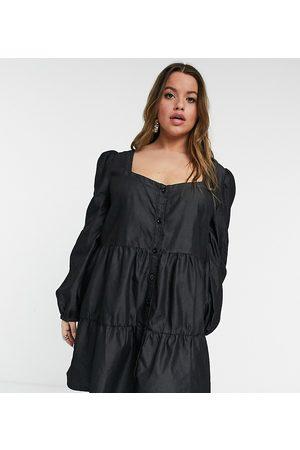 In The Style X Jac Jossa mini smock dress in black