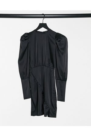 NaaNaa Satin long sleeve dress in black