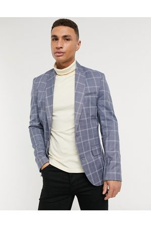 New Look Check suit jacket in blue