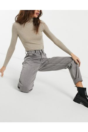 ASOS High rise patched utility jeans in grape