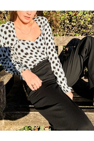 & OTHER STORIES Square neck puff sleeve blouse in blue with black dots