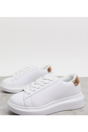 Truffle Collection Wide fit chunky trainers in white