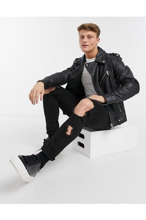 ASOS Leather biker jacket in black