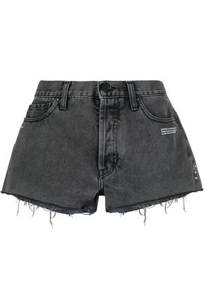 OFF-WHITE Raw-edge logo denim shorts