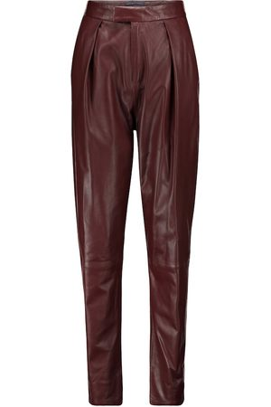 Zeynep Arcay High-rise pleated leather pants