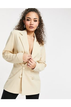 Club L Club L tailored double breasted blazer in stone