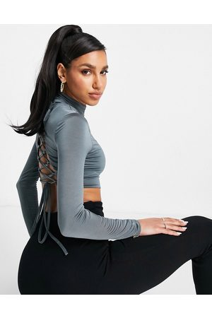 Club L High neck lace up back crop top co ord in slate
