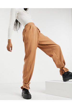 NaaNaa High waisted ankle tie trousers in camel
