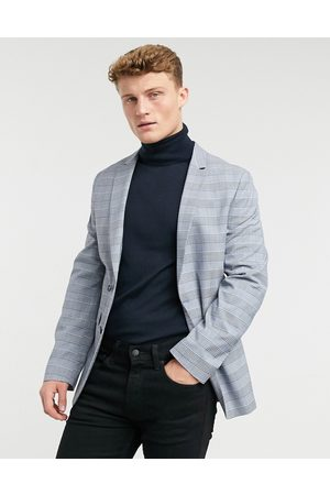 ASOS Super skinny suit jacket with prince of wales check in blue