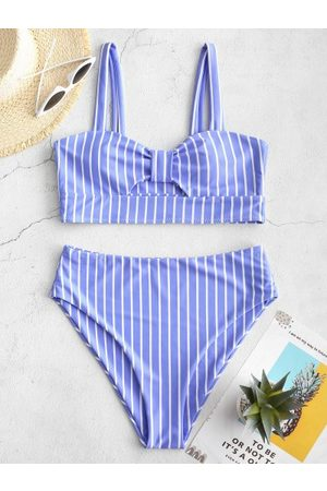 Zaful Knot Striped High Waisted Tankini Set