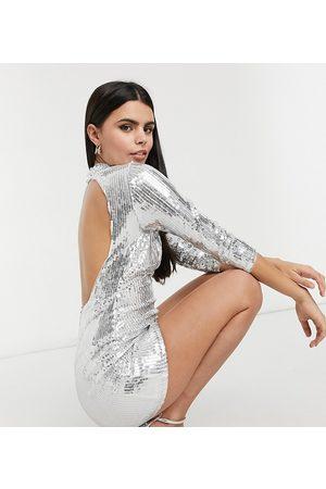 Jaded Rose Petite High neck backless embellished mini dress in silver
