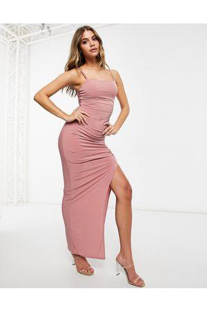 Club L Club L maxi dress with split in pink