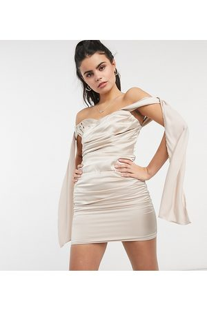 Jaded Rose Petite Wrap front drape sleeve mini dress in champagne