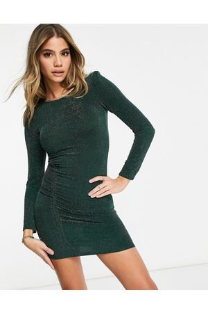 Fashionkilla Glitter ruched front mini dress with shoulder pads in emerald green