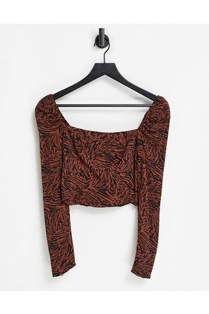 & OTHER STORIES Zebra print square neck top in brown