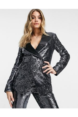 ASOS Suit blazer in silver sequin and contrast collar
