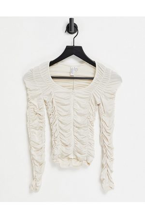 & OTHER STORIES Ruched long sleeve top in off white