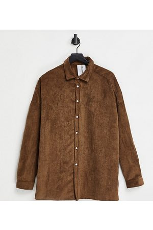 COLLUSION Unisex cord shirt in brown
