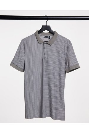 ASOS Muscle polo shirt with splice in grey textured fabric