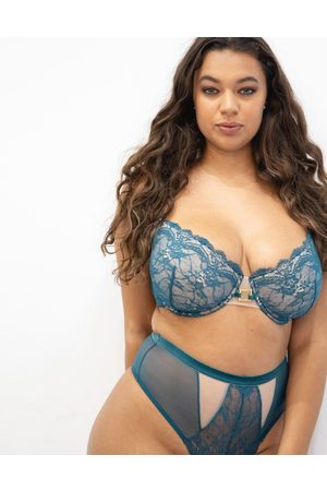 We Are We Wear Fuller Bust plunge bra with velvet and hardwear trims in teal