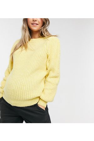 Pieces Maternity Knitted jumper in yellow