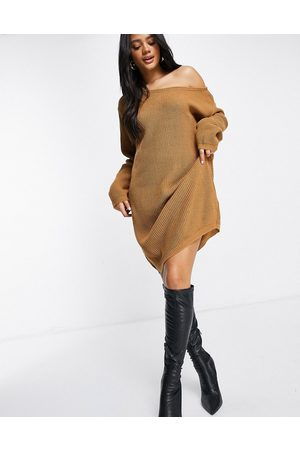 Fashionkilla Knitted slouchy off shoulder jumper dress in brown