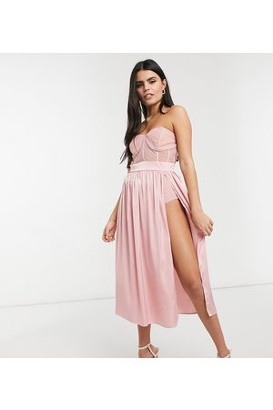Jaded Rose Petite Corset detail midaxi dress in rose pink