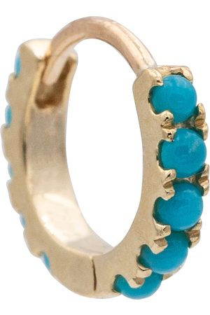 Maria Tash Eternity 14kt gold single hoop earring with turquoise