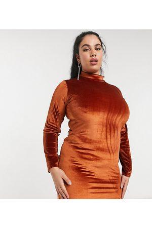 Rokoko Plus High neck long sleeve bodycon dress in burnt orange velvet