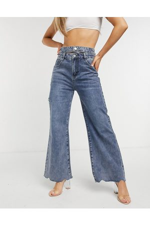 The Kript Wide leg jeans with double waist band in vintage wash