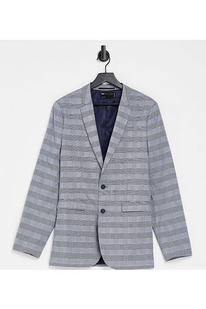 ASOS Tall super skinny suit jacket with prince of wales check in blue